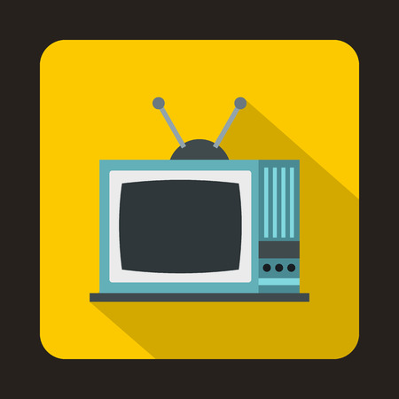 outmoded: Retro TV icon in flat style on a yellow background Illustration