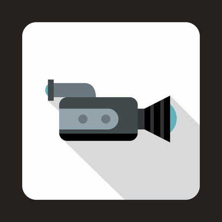 legacy: Video camcorder with video cassette icon in flat style on a white background