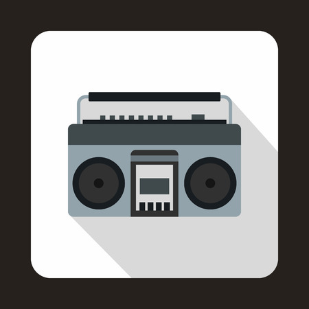 boom box: Boom box or radio cassette tape player icon in flat style on a white background