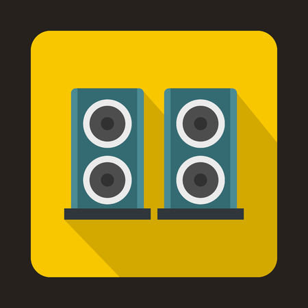 two party system: Two audio speakers boxes icon in flat style on a yellow background