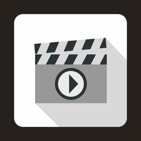 clapboard: Clapboard icon in flat style on a white background Illustration