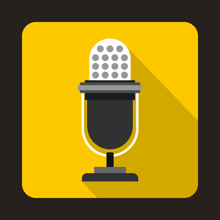 Retro microphone icon in flat style on a yellow background