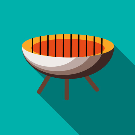 barbecue stove: Barbecue icon in flat style on a turquoise background Illustration