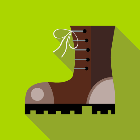 hiking boot: Hiking boot icon in flat style on a green background