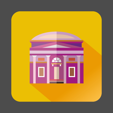 Building with a round roof icon in flat style on a yellow background