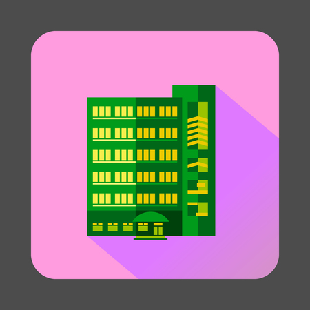 multistory: Green multistory building icon in flat style on a pink background Illustration