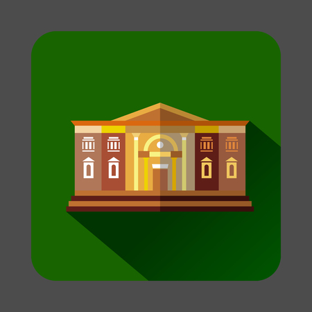 two storey: Two storey public building icon in flat style on a forest green background Illustration