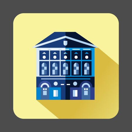 pale yellow: Blue building with checkered windows icon in flat style on a pale yellow background