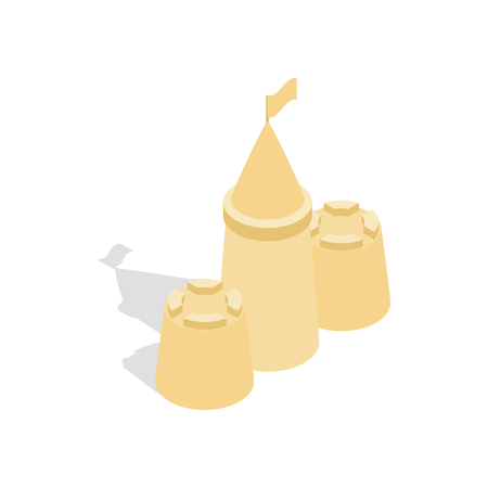 Sandcastle icon in isometric 3d style on a white background