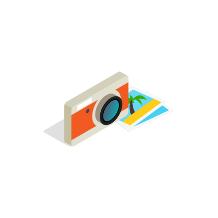 Camera and photos icon in isometric 3d style on a white background Illustration