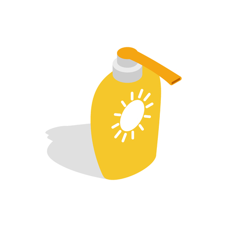 sun cream: Bottle of suntan cream icon in isometric 3d style on a white background