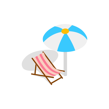 chaise lounge: Beach chaise lounge with umbrella icon in isometric 3d style on a white background Illustration
