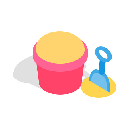 playtime: Bucket and shovel for childrens sandbox icon in isometric 3d style on a white background