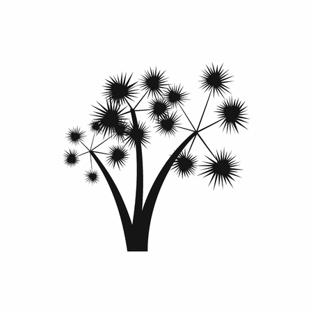 three palm trees: Three spiky palm trees icon in simple style isolated on white background. Flora symbol