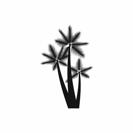three palm trees: Three tropical palm trees icon in simple style isolated on white background. Flora symbol
