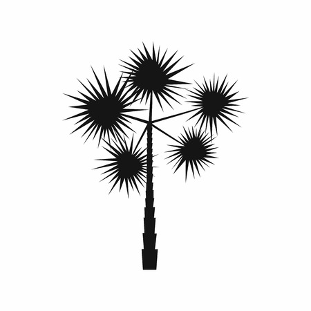 spiny: Spiny tropical palm tree icon in simple style isolated on white background. Flora symbol