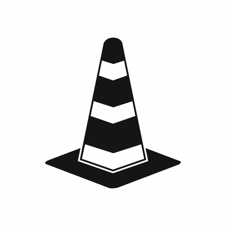 Traffic cone icon in simple style isolated on white background. Warning symbol Illustration