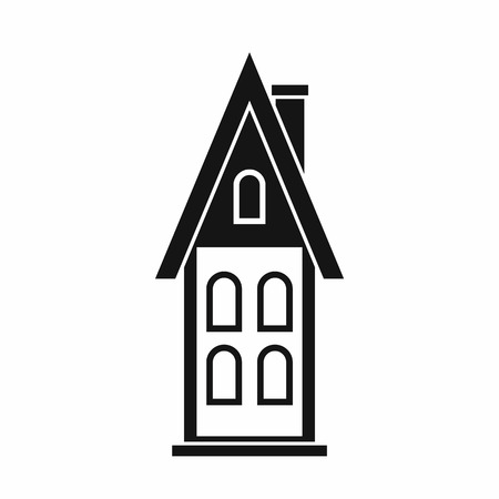 two storey house: Two storey house with attic icon in simple style isolated on white background. Structure symbol