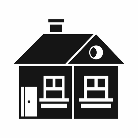 large house: Large single-storey house icon in simple style isolated on white background. Structure symbol