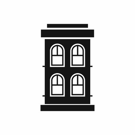 large house: Two-storey house with large windows icon in simple style isolated on white background. Structure symbol