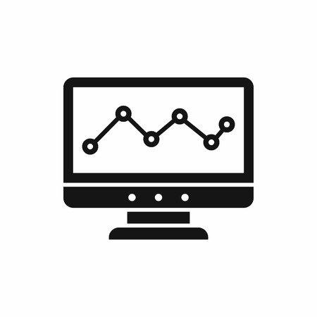 delineate: Graph in computer screen icon in simple style isolated on white background