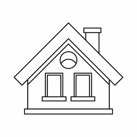 cottage: Small cottage icon in outline style on a white background