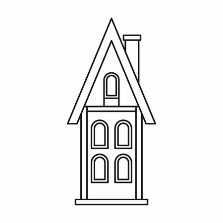 storey: Two storey house with chimney icon in outline style on a white background