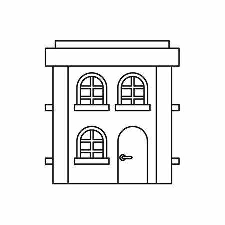 suburban street: Two storey house icon in outline style on a white background