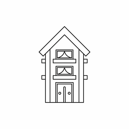 two storey: Small two storey house icon in outline style on a white background