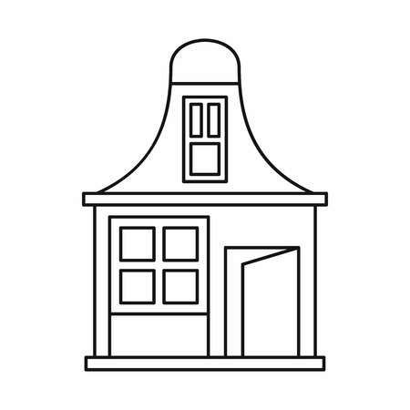 mansard: House with a mansard icon in outline style on a white background