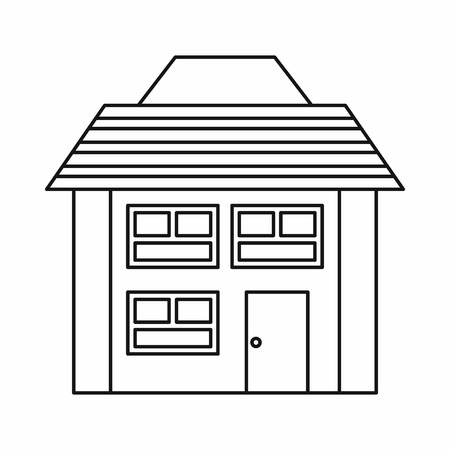 two storey house: Two storey house icon in outline style on a white background