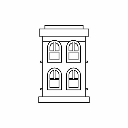 two storey: Two storey house icon in outline style on a white background