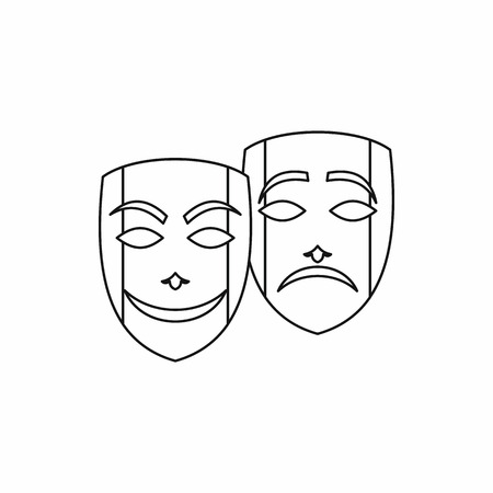 tragedy: Comedy and tragedy theatrical masks icon in outline style on a white background Illustration
