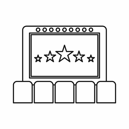 cinema screen: Cinema auditorium with screen and seats icon in outline style on a white background Illustration