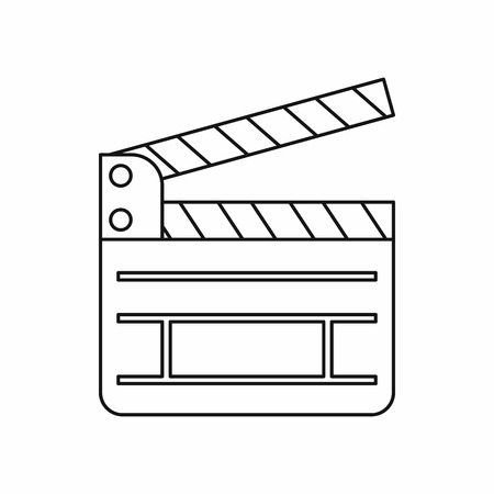 clapboard: Clapboard icon in outline style on a white background Illustration