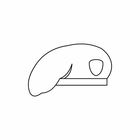 military beret: Military beret icon in outline style on a white background