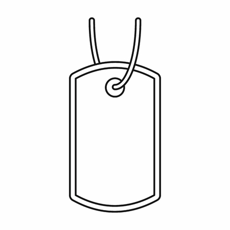 blank metallic identification plate: Identification army badge icon in outline style on a white background Illustration