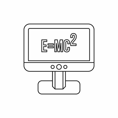 relativity: Computer monitor with the Theory of Relativity formula icon in outline style on a white background Illustration