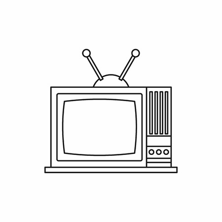 outmoded: Retro TV icon in outline style on a white background