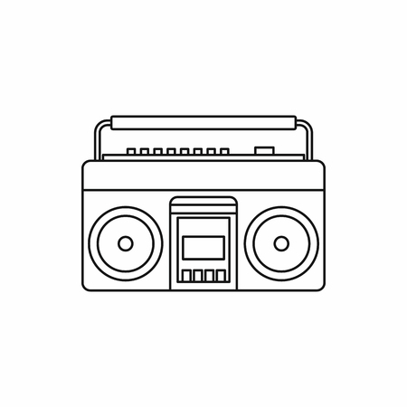 boombox: Classic boombox icon in outline style on a white background
