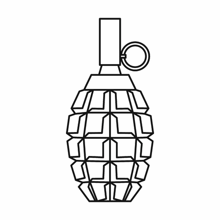 munition: Grenade icon in outline style on a white background