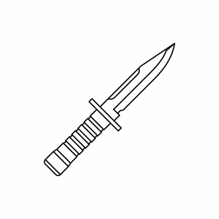 Military knife icon in outline style on a white background Ilustração