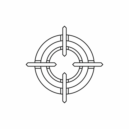 Crosshair reticle icon in outline style on a white background Illustration