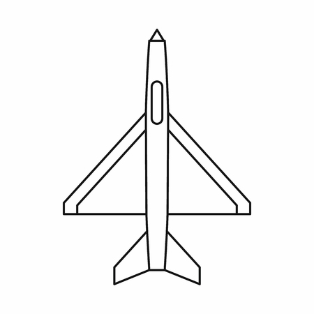 military aircraft: Military aircraft icon in outline style on a white background