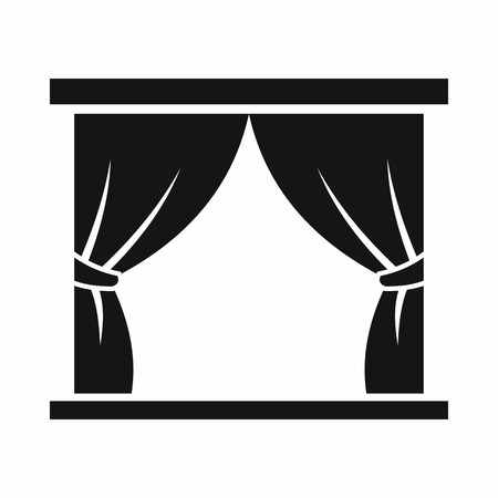Curtain on stage icon in simple style isolated on white background. Theatre symbol Çizim