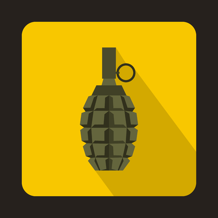 shrapnel: Hand grenade icon in flat style with long shadow