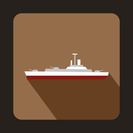 battleship: Military ship icon in flat style with long shadow