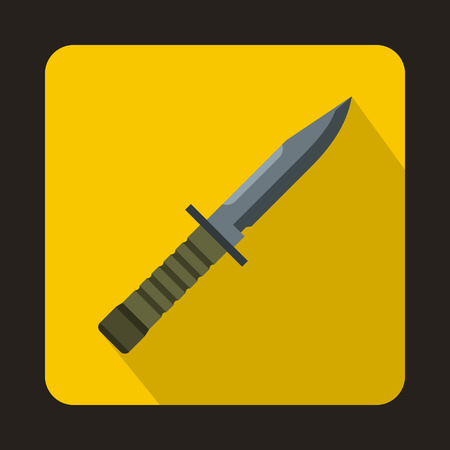 Military combat knife icon in flat style with long shadow
