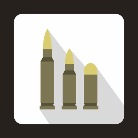 caliber: Different caliber bullets icon in flat style with long shadow Illustration