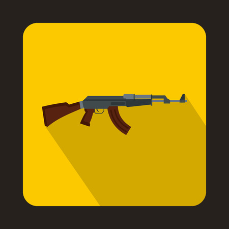 Automatic machine gun icon in flat style with long shadow Illustration